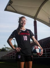 Louisville soccer player Emina Ekic started all 19 matches in the midfield. She finished the 2018 season with seven goals and five assists for 19 points. She was also listed to the All-ACC Academic Soccer team. Sept. 17, 2019.