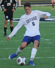 Ontario's Josh Young scored a goal in the Warriors' MOAC title clinching win over Pleasant on Monday.