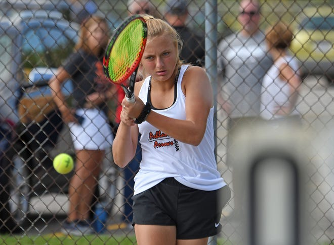 Ashland's Audra McBride, in action earlier this season against Shelby, won No. 2 singles to help her Arrows claim the Ohio Cardinal Conference championship on Saturday.