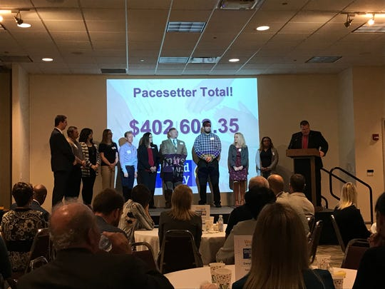 Pacesetter Companies for United Way of Richland County raised $402,602.35 toward the campaign goal of $1.4 million. The companies were honored Tuesday at the United Way annual kickoff breakfast at Mid-Ohio Conference Center.