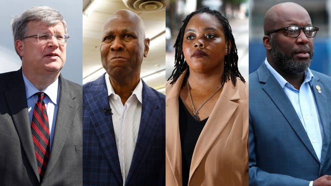 Major candidates for the 2019 Memphis mayoral election. From left: Jim Strickland, Willie Herenton, Tami Sawyer, Lemichael Wilson