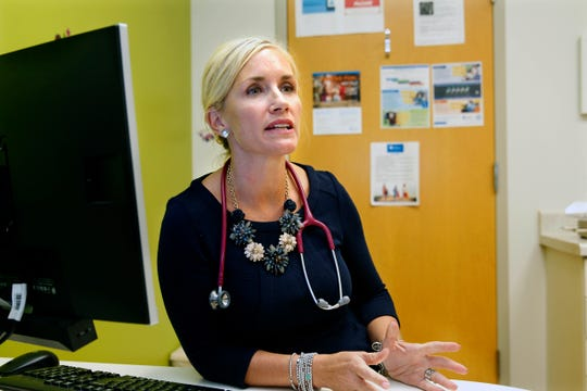 Dr. Jennifer Schreiber, pediatrician at Bluemound Pediatrics in Brookfield, talks Monday about one of her patients who had a life-threatening condition suffered from vaping.