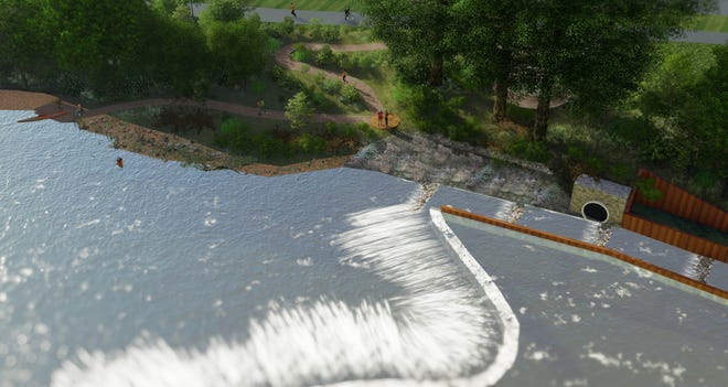 This rendering, which shows an overlook area in the center and an in-river fish passage at right, had been one of the options under consideration for improvements to the Kletzsch Park dam in Glendale. The proposal met with opposition from a variety of constituencies and died in committee.