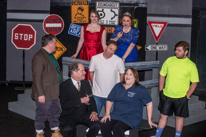 """The cast of """"Becky's New Car"""" during rehearsal at Wetumpka Depot."""