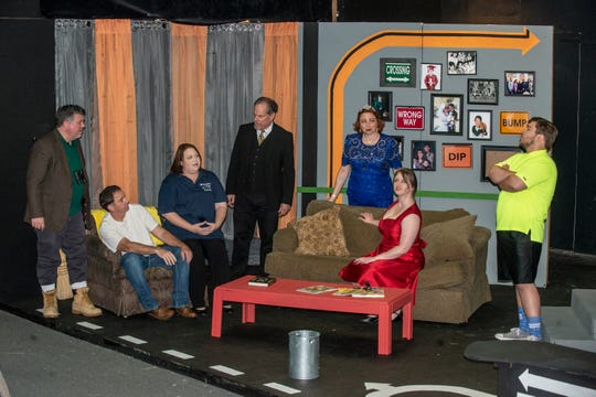 "The cast of ""Becky's New Car"" during rehearsal at Wetumpka Depot."