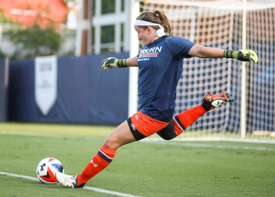 Auburn women's soccer goalie Kate Hart prepares to make a goal kick during a match the weekend of Sept. 5-8, 2019, in Auburn, Alabama.