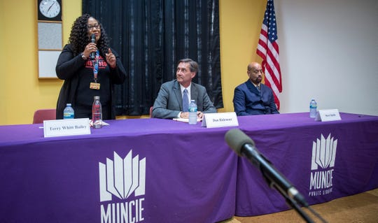 Democrat Terry Whitt Bailey, Republican Dan Ridenour and Libertarian Steve Smith all answered questions from the public on Sept. 16 during one of the first mayoral forums at Muncie's Kennedy Library.