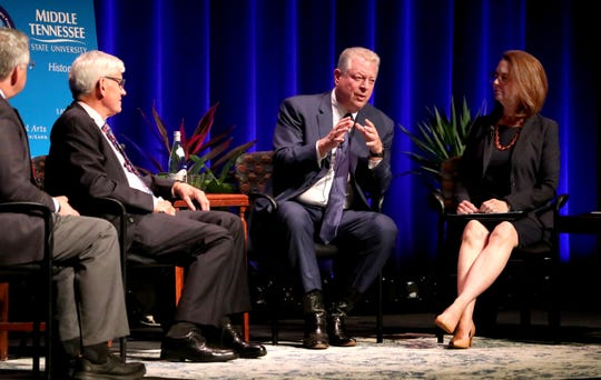 Former Vice President Al Gore discusses the political legacy of his father, Al Gore Sr., during a panel discussion Monday, Sept. 16, 2019, at MTSU. The panel also included Louis M. Kyriakoudes, Anthony J. Badger, Mary Evins and Kent Syler.