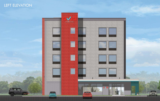 This rendering shows what a proposed Avid Hotel would look like at the northwest corner of Wilkinson Pike and Greshampark Drive in Murfreesboro's Gateway area.