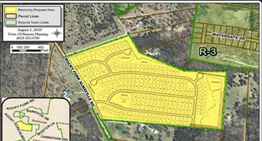 Rezoning in yellow is for the 148-home Westover subdivision plan at 8916 Rocky Fork Almaville Road. The Smyrna Town Council recently approved the zoning for this development.
