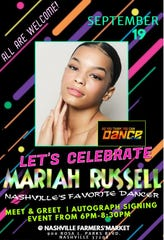 Mariah Russell will be available to sign autographs and meet fans 6-8:30 p.m. Thursday at Nashville Farmers' Market.