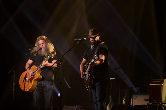 Jamey Johnson and Randy Houser perform during the SIP Hope 4 Hope Town Hurricane Dorian Relief Concert at the Ryman Auditorium  Monday, Sept. 16, 2019 in Nashville, Tenn.