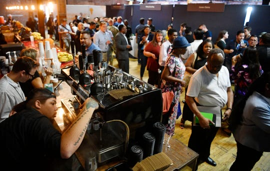Throngs of job seekers fill the Cannery at Amazon's highly publicized Career Day Tuesday, Sept. 17, 2019, in Nashville, Tenn.