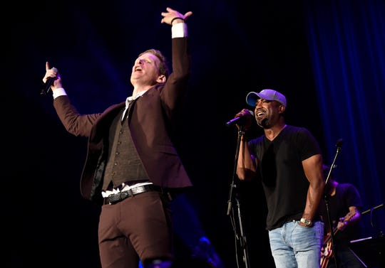 Patrick Davis and Darius Rucker perform during the SIP Hope 4 Hope Town Hurricane Dorian Relief Concert at the Ryman Auditorium  Monday, Sept. 16, 2019 in Nashville, Tenn.