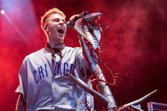 As his rap alter ego Machine Gun Kelly, Colson Baker performs during Fall Out Boy?s ?The MANIA Tour? last fall in Chicago. He performs Friday, both solo and with the band.