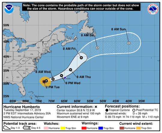 Hurricane Humberto as of 2 p.m. Tuesday, Sept. 17, 2019.