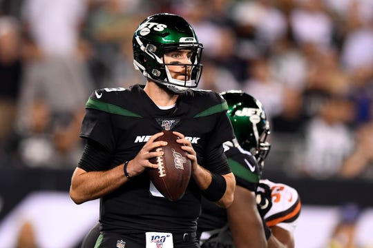 New York Jets quarterback Luke Falk throws agains the Browns in the second half. The New York Jets lose to the Cleveland Browns, 23-3, in NFL Week 2 on Monday, Sept. 16, 2019, in East Rutherford.