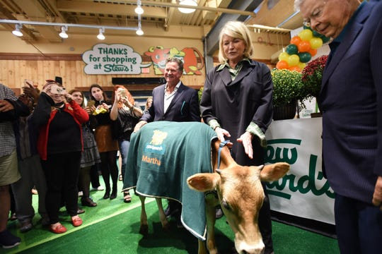 "Stew Leonard Jr., the president & CEO of Stew Leonard's and Martha Stewart pose for photos with a young cow named ""Martha"" during a VIP & Media Reception at Stew Leonard's at Paramus Park Mall on 09/16/19. The man on the right is Stew Leonard (the father of Stew Leonard Jr.)"