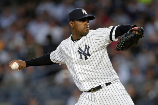 New York Yankees pitcher Luis Severino (40) pitches against the Los Angeles Angels during the second inning at Yankee Stadium.