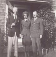 Gertrude Tompkins with her husband Henry Silver (right).  The military didn't want Women's Airforce Service Pilots to be married so Tompkins got married secretly before returning to California to fly. This photo was taken in October 1944, right before Tompkins went missing.