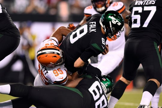 Cleveland Browns defensive end Myles Garrett (95) sacks New York Jets quarterback Luke Falk (8) in the second half. The New York Jets lose to the Cleveland Browns, 23-3, in NFL Week 2 on Monday, Sept. 16, 2019, in East Rutherford.