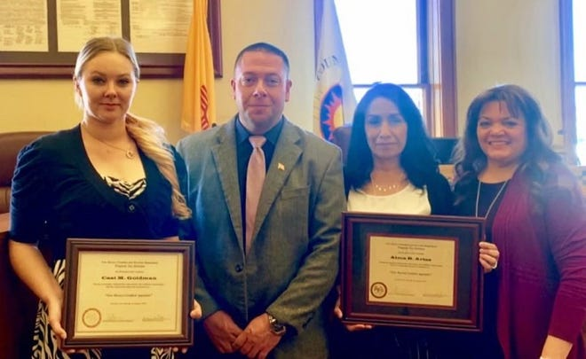 Pictured from left are Casi Goldman, Phillip Serna, Appraisal Bureau Chief of Property Tax Division in Santa Fe, Alma Arias and Luna County Assessor Michelle Holguin.