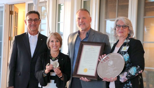 Pictured during Monday's award ceremony are, from left, Manny Cordova, Gov. Michelle Lujan Grisham, Luna County Detention Center Director Chris Brice and Luna County Commissioner (Dist. 1) Barbara Reedy.