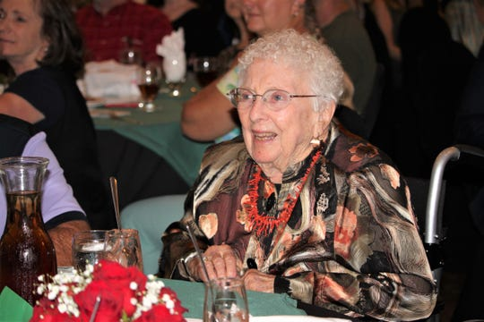 Virginia Brilliant, soon to be 100-year-old, watches her daughter, Kay brilliant, receive an award from the Girl Scouts of the Desert Southwest on Tuesday, Sept. 17, 2019.