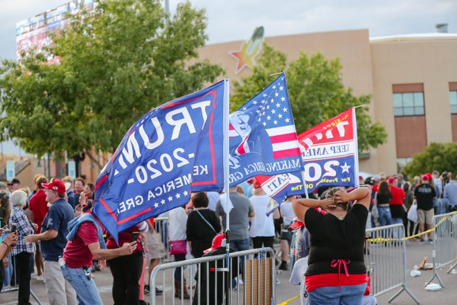 Hundreds gather at a rally for President Trump at the Santa Ana Star Center in Rio Rancho, New Mexico on Monday, Sept. 16, 2019.