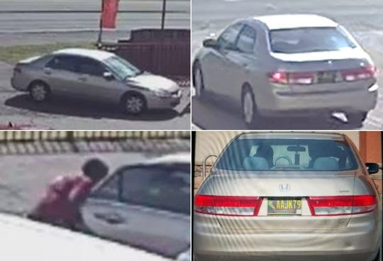 Police searching for driver of gold Honda Accord who is allegedly targeting and attempting to rob bank customers.