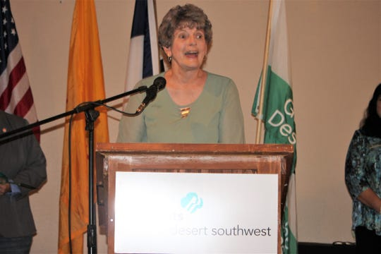 Mary Lou Brown gives a speech accepting her Woman of Distinction award from the Girl Scouts of the Desert Southwest Tuesday, Sept. 17, 2019.