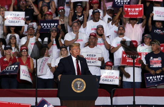 President Donald Trump speaks to the crowd at his campaign rally Sept. 16, 2019 in Rio Rancho.
