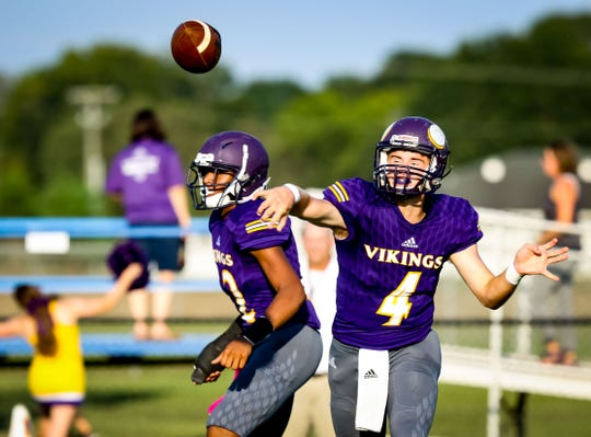 Opelousas Catholic quarterback Jesse Roy makes a pass against Ascension Episcopal during last month's jamboree.