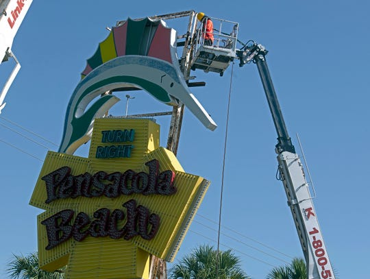 The renovations and replacement of the Pensacola Beach sign in Gulf Breeze is underway. Work on the iconic sign continues on Tuesday, Sept. 17, 2019.