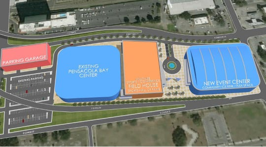 A rendering shows the first phase of construction of a proposed arena and field house meant to replace the Pensacola Bay Center.