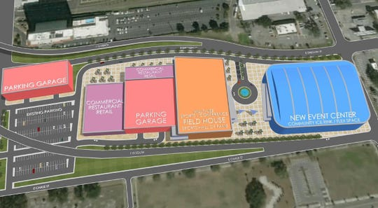 A rendering shows phase two of construction of a new arena and field house meant to replace the Pensacola Bay Center.