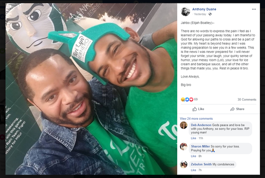 Facebook post about Elijah Boatley
