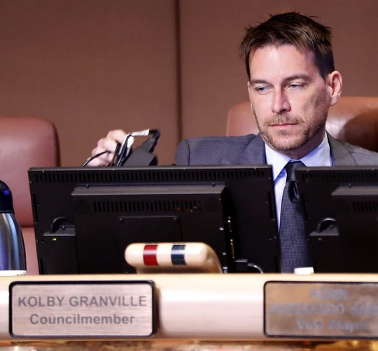Tempe Councilman Kolby Granville waits for the start of the City Council meeting at the Tempe Municipal Building on Feb. 8, 2018, in Tempe.