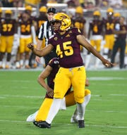 Arizona State Sun Devils place kicker Christian Zendejas (45) kicks a field goal against Kent State in the first half during a game at Sun Devil Stadium on Aug. 29, 2019 in Tempe, Ariz.