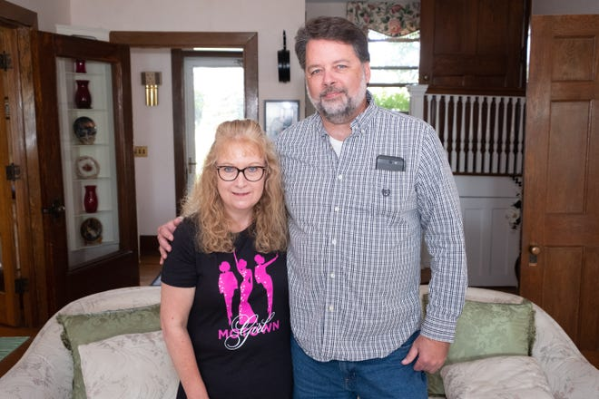 Almost five years ago, Darin Zohr, of St. Clair, right, anonymously donated bone marrow to Carol Timmins, of England. The two, pictured here in Zohr's St. Clair home Tuesday, Sept. 17, 2019, met for the first time this month.