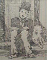 "A pencil drawing by Jean Haines of Charlie Chaplin in the silent film ""A Dog's Life,"" 1918."