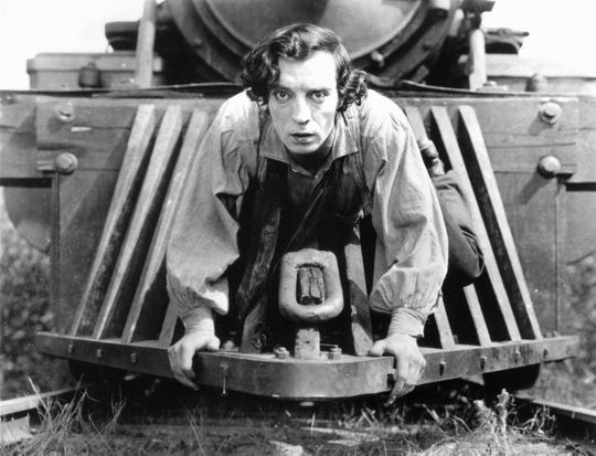 "Buster Keaton is shown in the 1926 silent film, ""The General."""