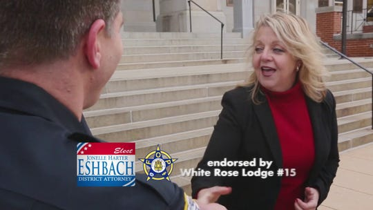 A former sergeant of the York County Sheriff's Office said he and other deputies were called in while on duty to change their uniform shirts and pose for campaign photos with Jonelle Harter Eshbach's 2017 election bid for district attorney. Eshbach said she assumed they were on their own time.