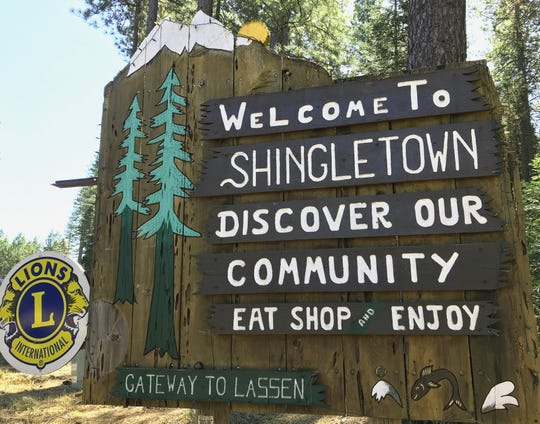 Sign along Highway 44 welcomes travelers to Shingletown.