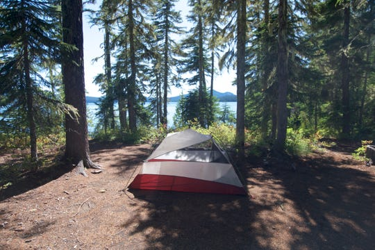 A tent at a dispersed campsite at Waldo Lake.