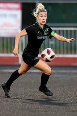 West Salem's Paige Alexander (22) competes in the Jesuit vs. West Salem girls soccer game at West Salem High School on Sep. 16, 2019. The game ended 0-0.