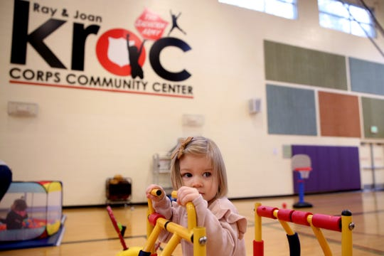 Elowen Schurter, 2, of Salem, plays during Toddler Tuesday activities at the Kroc Center in Keizer on Sep. 17, 2019. The Kroc Center will celebrate its 10th anniversary with a free community event on Saturday.
