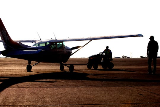 A Civil Air Patrol aircraft is moved onto the tarmac at the San Angelo Regional Airport on Saturday, Sept. 14, 2019.