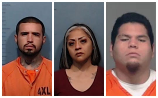 From left: Jessie Wayne Robinson Jr., Jennifer Badillo and David Nakeia Diaz were indicted by a Tom Green County grand jury for murder in connection with the shooting of Gilberto Mascorro on July 7.