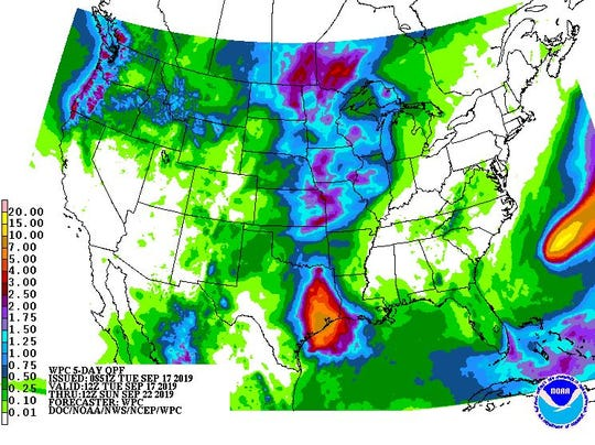 Five-day rainfall outlook for the area.